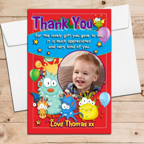 10 Personalised Monster Boys Girls Birthday Thank you PHOTO Cards N209